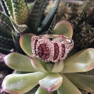 Garnet White Topaz Ring